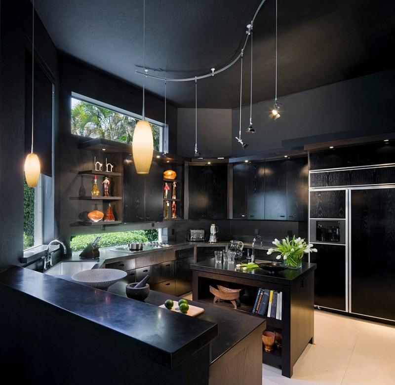 кухня в черно белых тонах фото