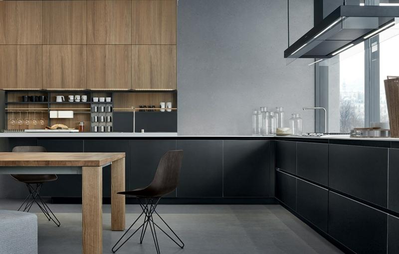 кухня в бело черных тонах
