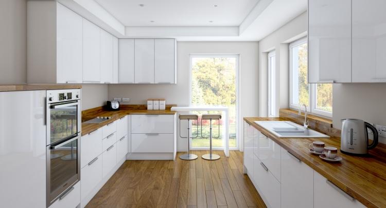 Светлая просторная кухня в нежным оттенком светлого дерева