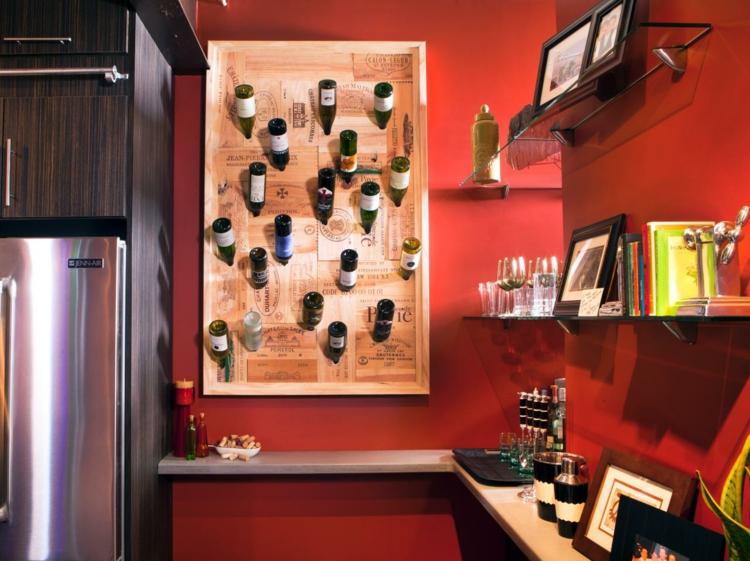 Идея оригинального хранения вина на кухне