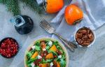 Салат с козьим сыром, хурмой и зернами граната - вкусный рецепт