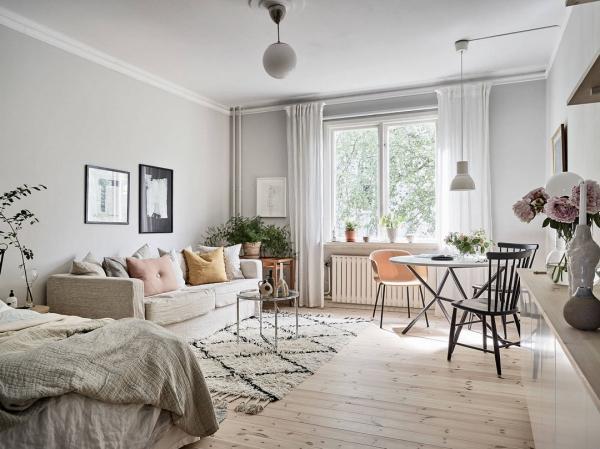 Дизайн интерьера для однокомнатной квартиры: идеи